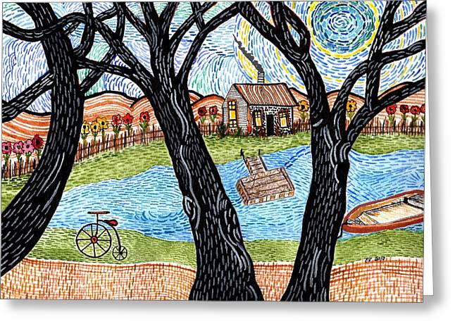 One Country Home Greeting Card by Connie Valasco