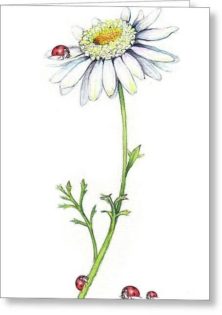 Greeting Card featuring the painting One Daisy And Four Ladybugs by Heidi Kriel