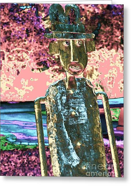 One Dimensional Man Greeting Card by Marcia Lee Jones