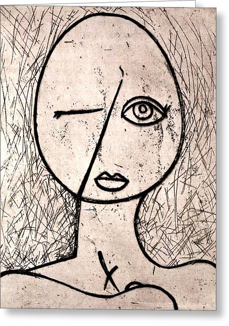 Female Nude Reliefs Greeting Cards - One Eye Greeting Card by Thomas Valentine
