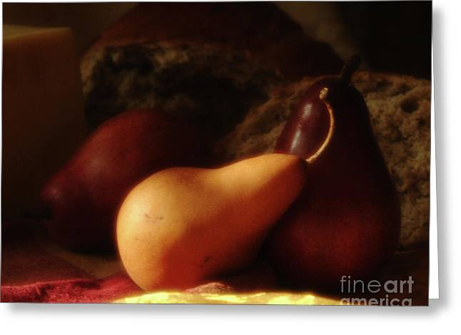 One Golden Pear Greeting Card by Georgia Sheron