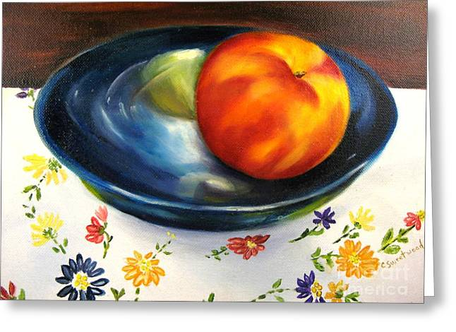 One Good Peach Greeting Card by Carol Sweetwood