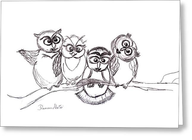 One Happy Family Greeting Card by Ramona Matei