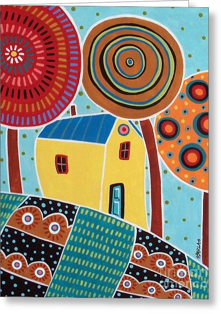 One House Three Trees Landscape Greeting Card