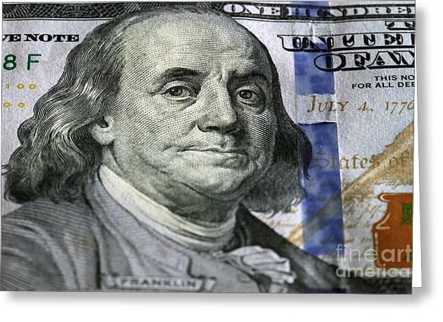One Hundred Dollar.focus On Benjamin Franklin Greeting Card