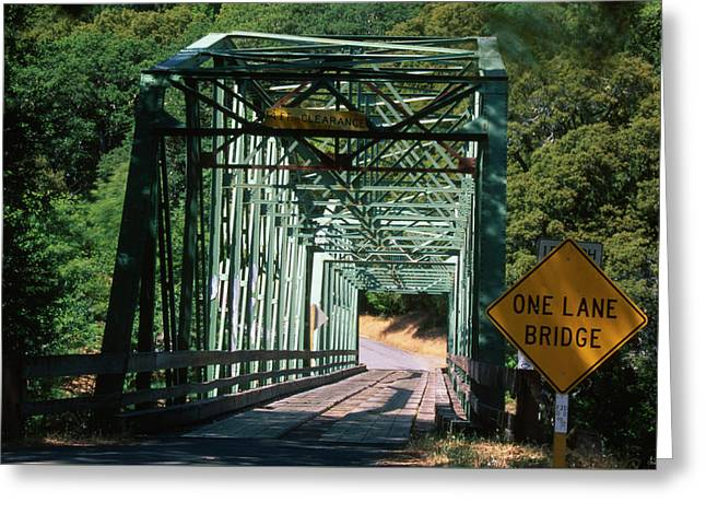 One Lane Bridge Greeting Card by Soli Deo Gloria Wilderness And Wildlife Photography