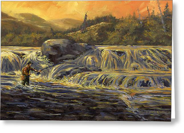 Greeting Card featuring the painting One Last Cast by Kurt Jacobson