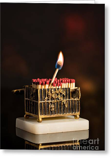 One Lit Matchstick Greeting Card