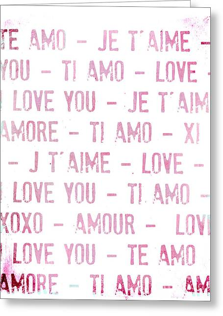 One Love Pink Typography Art Greeting Card