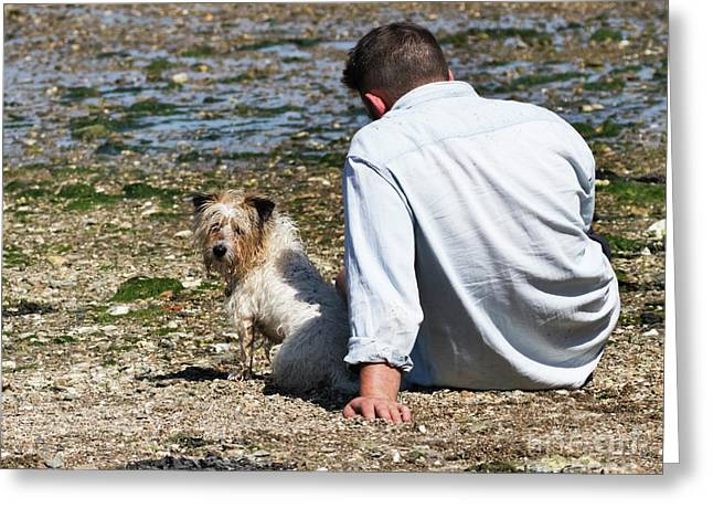 One Man And His Dog On The Beach Greeting Card by Terri Waters