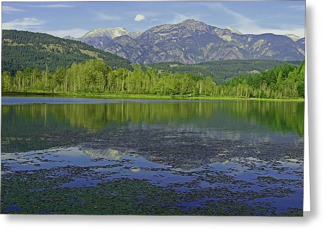 One Mile Lake Reflections 1a Greeting Card by Walter Fahmy