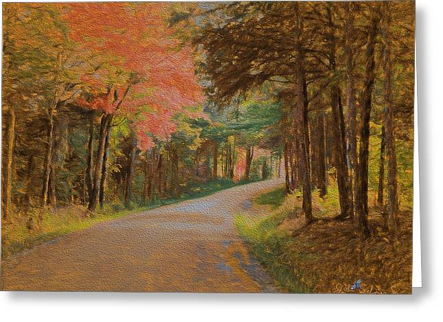 One More Country Road Greeting Card by John Selmer Sr