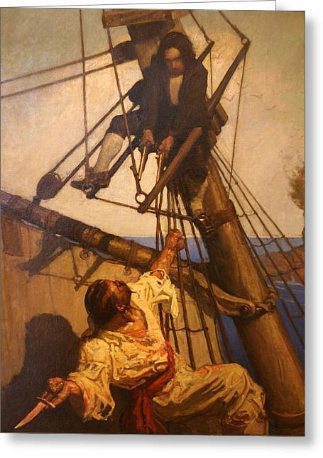 One More Step Mr. Hands - N.c. Wyeth Painting Greeting Card by PaintingAssociates