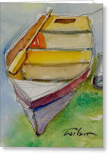 One Oar Gone Greeting Card by Ron Wilson
