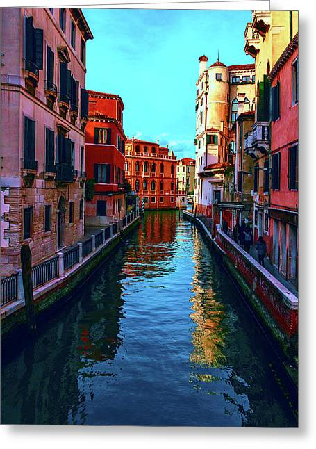 one of the many beautiful old Venetian canals on a Sunny summer day Greeting Card