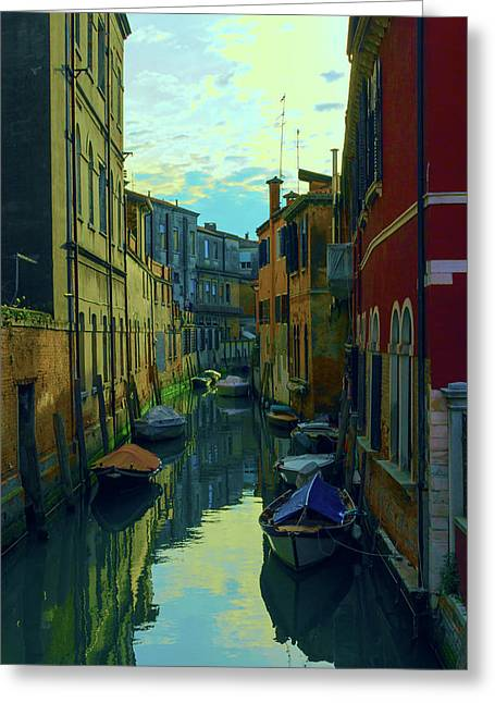 one of the many Venetian canals at the end of a Sunny summer day Greeting Card