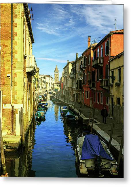 one of the many Venetian canals on a Sunny summer day Greeting Card