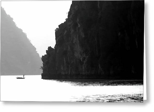 One On One Ha Long Bay Vietnam Greeting Card by Chuck Kuhn