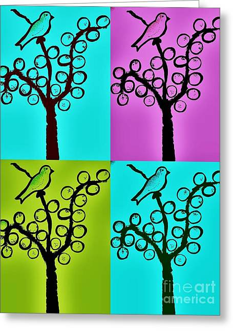 One Or Four Birds By Jasna Gopic Greeting Card by Jasna Gopic