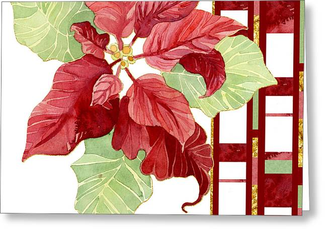 One Perfect Poinsettia Flower W Modern Stripes Greeting Card
