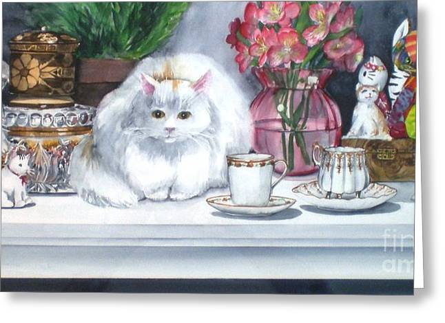 One Real Cat And Several Faux Kitties Greeting Card