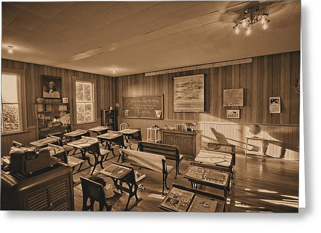 One Room Education Sepia Greeting Card