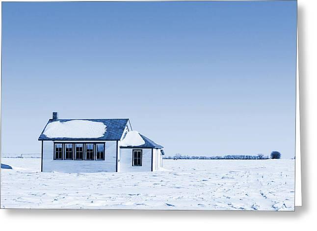 One Room Rural School Blue Toned Greeting Card