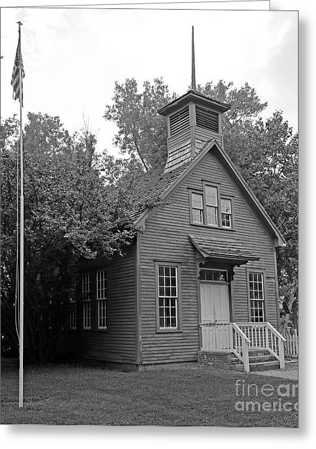 One Room Schoolhouse Black And White Greeting Card