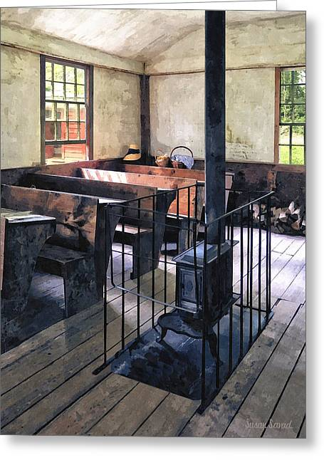 One Room Schoolhouse With Stove Greeting Card by Susan Savad