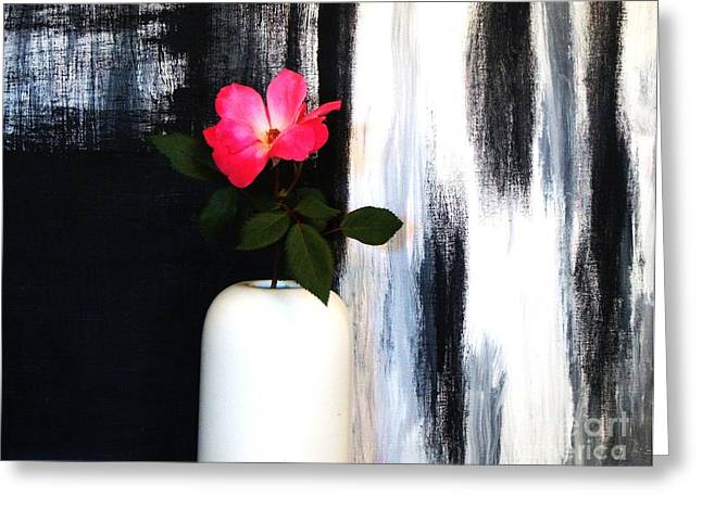 One Rose One Rose Greeting Card by Marsha Heiken