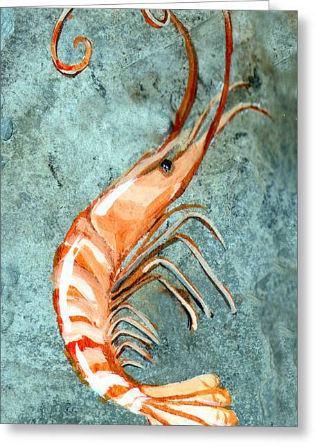 One Shrimp Greeting Card by Elaine Hodges