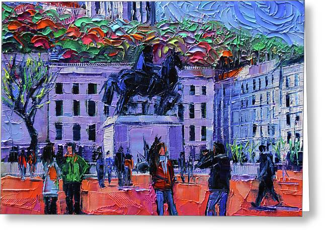 One Tuesday In Lyon - Palette Knife Oil Painting Greeting Card