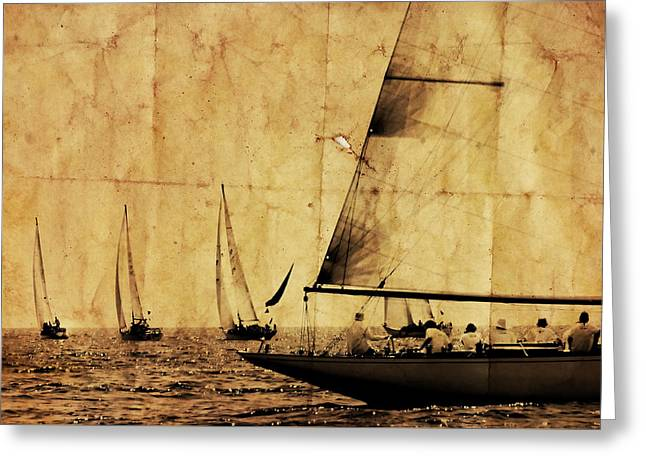 One Two Tree - Vintage Processed Photo Of A Sailboat Regatta In The Mediterranean Sea Greeting Card by Pedro Cardona