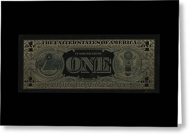 One U. S. Dollar Bill Reverse - Gold On Black Greeting Card by Serge Averbukh