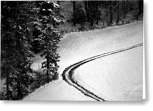 Greeting Card featuring the photograph One Way - Winter In Switzerland by Susanne Van Hulst