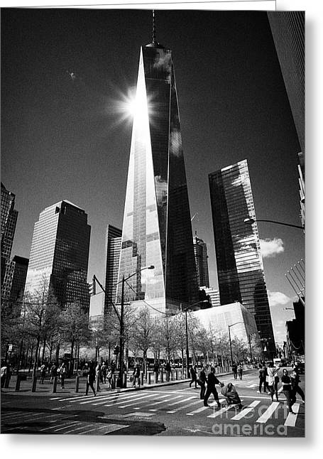 one world trade center building and ground zero 9/11 memorial New York City USA Greeting Card