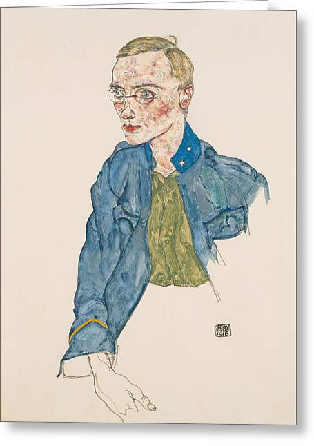 One-year Volunteer Lance-corporal 1916 Greeting Card by Egon Schiele