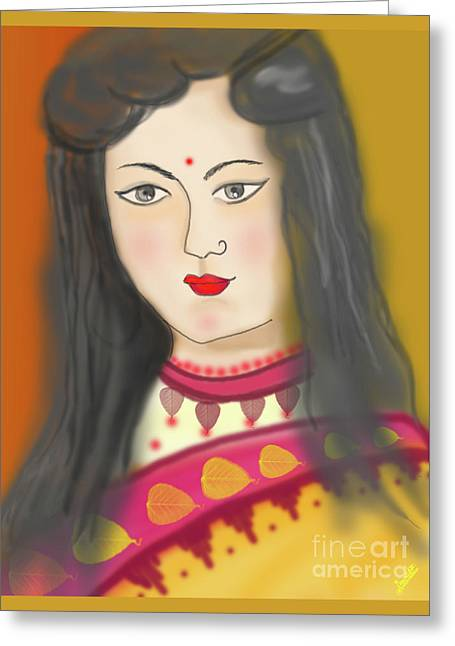One Young Woman Greeting Card by Artist Nandika Dutt