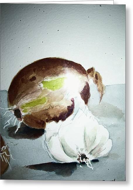 Onion And Garlic Greeting Card