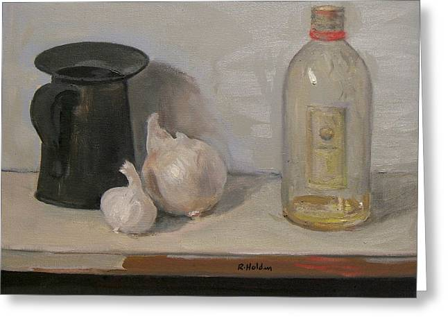 Onion And Garlic,tin Can, And Painting Medium Bottle Greeting Card