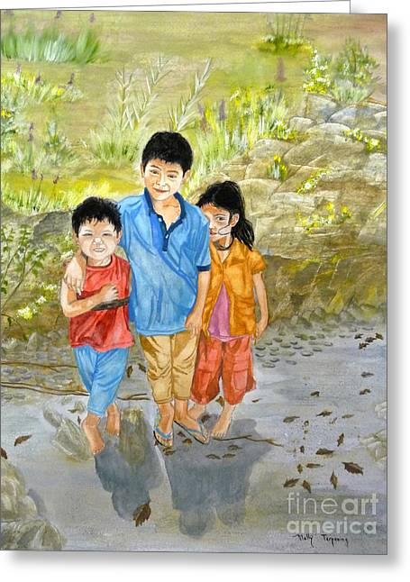 Greeting Card featuring the painting Onion Farm Children Bali Indonesia by Melly Terpening