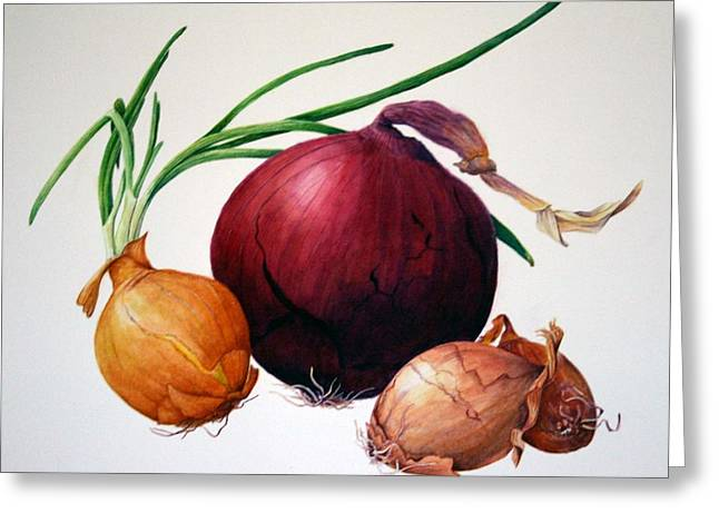 Onion Medley Greeting Card by Margit Sampogna