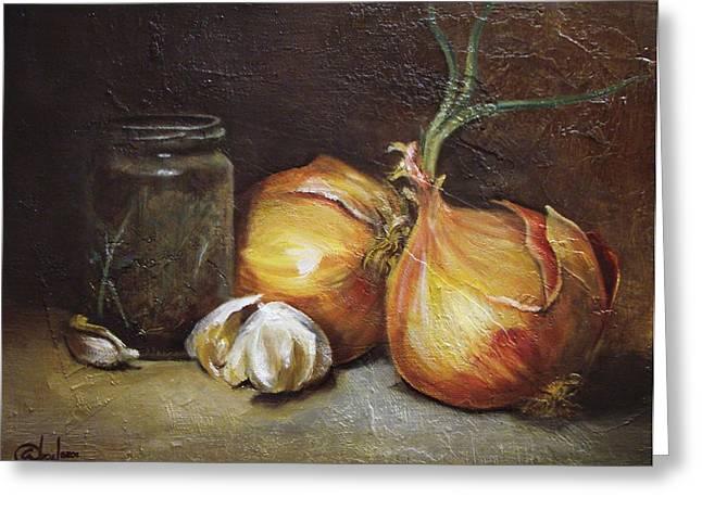 Onions And Garlic  Greeting Card by Alex Loza