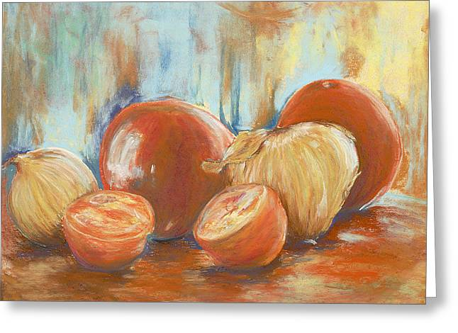 Onions And Tomatoes Greeting Card by AnnaJo Vahle