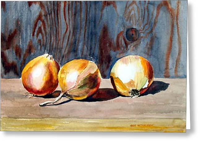 Onions In The Sun Greeting Card by Anne Trotter Hodge