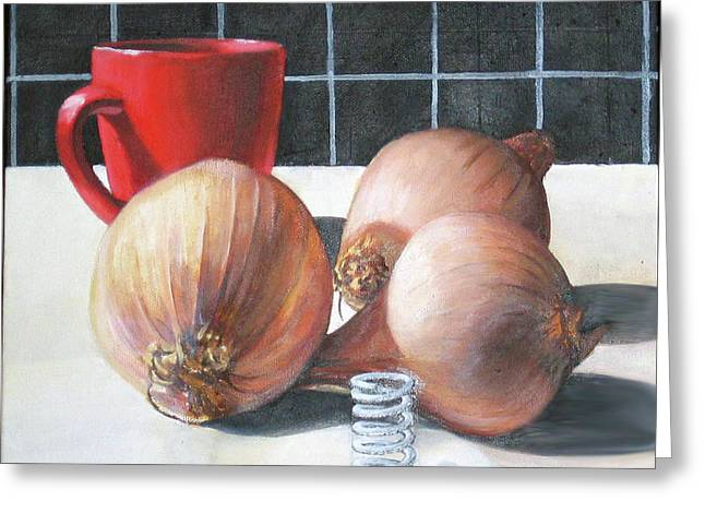 Greeting Card featuring the painting Onions by Tim Johnson