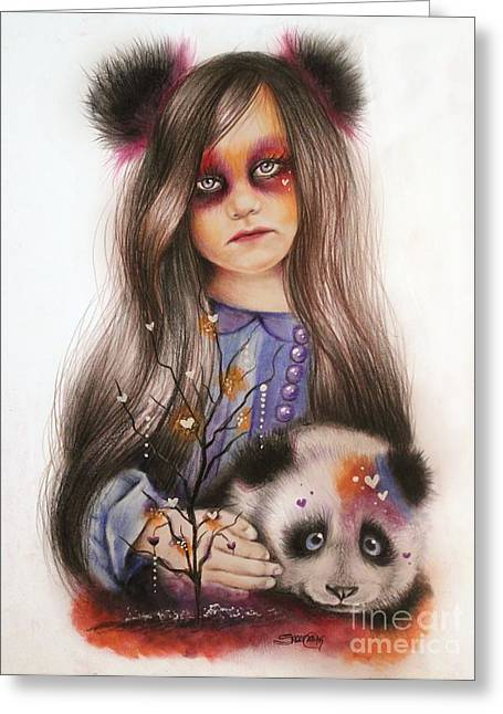 Greeting Card featuring the drawing Only Friend In The World - Panda Precious by Sheena Pike