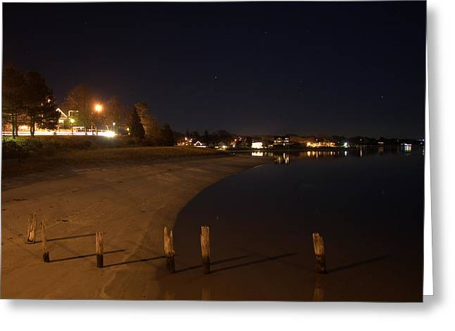 Greeting Card featuring the photograph Onset Beach At Night by Greg DeBeck