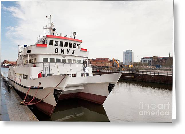 Onyx Passenger Ferry Ship Moored Greeting Card by Arletta Cwalina