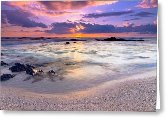 O'oma Beach Sunset Greeting Card